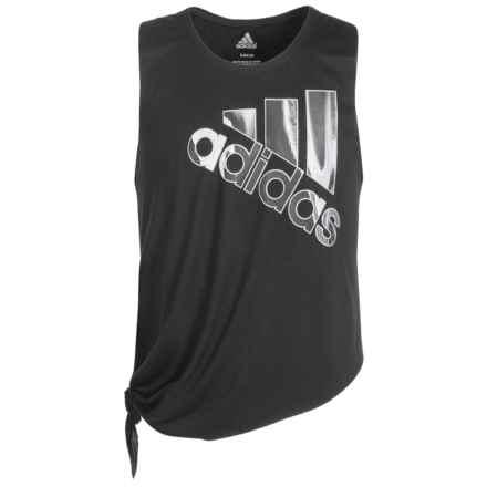 adidas Tie Tank Top (For Big Girls) in Black/Sun Glow - Closeouts