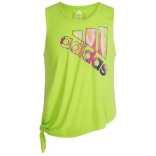 Adidas Tie Tank Top (For Big Girls) in Semi Solar Slime/Dark Grey - Closeouts