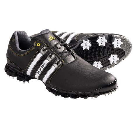 Adidas Tour360 ATV M1 Golf Shoes - Leather, THINTECH® (For Men) in Black/White/Vivid Yellow