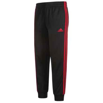 adidas Tricot Joggers (For Big Boys) in Black/Scarlet - Closeouts