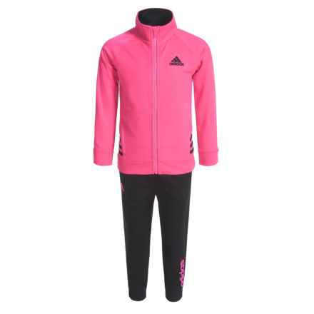 adidas Tricot Sweatshirt and Joggers Set (For Toddler Girls) in Bright Pink - Closeouts