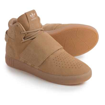 adidas Tubular Invader Strap Shoes - Suede (For Men) in Linen Khaki - Closeouts