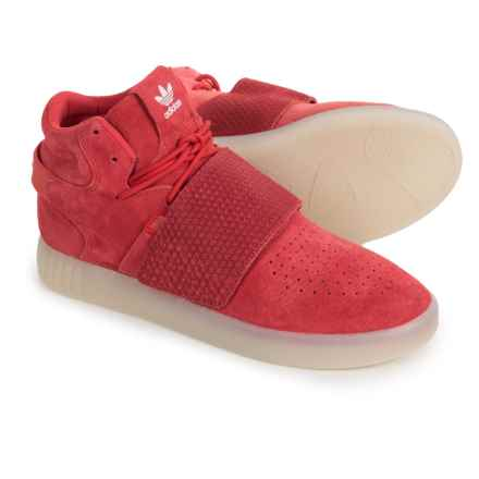 adidas Tubular Invader Strap Shoes - Suede (For Men) in Red/Red/White - Closeouts