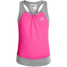 Adidas Ultimate Tank Top (For Big Girls) in Medium Grey Heather/Shock Pink - Closeouts