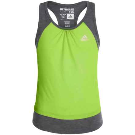 adidas Ultimate Tank Top (For Big Girls) in Semi Solar Slime/Dark Grey - Closeouts