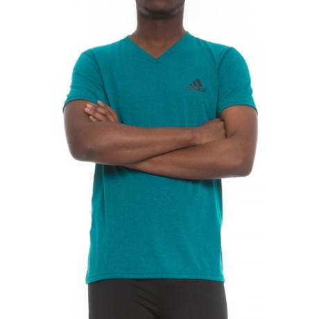 adidas Ultimate V-Neck Shirt - Short Sleeve (For Men) in Petrol Night