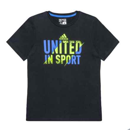 adidas United in Sport T-Shirt - Short Sleeve (For Big Boys) in Black - Closeouts
