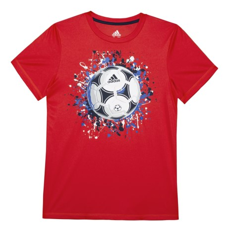 adidas USA T-Shirt - Short Sleeve (For Big Boys) in Bright Red