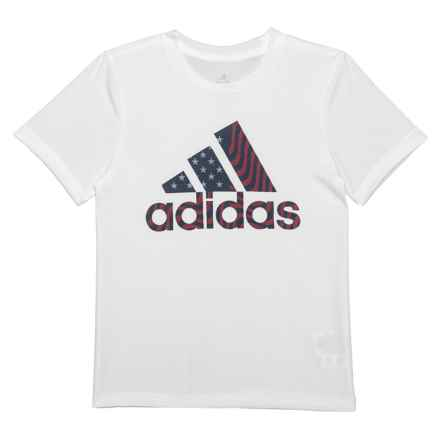 adidas USA T-Shirt - Short Sleeve (For Toddlers and Little Boys) in White - Closeouts