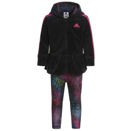 adidas Velour Hoodie and Leggings Set (For Infants) in Black - Closeouts