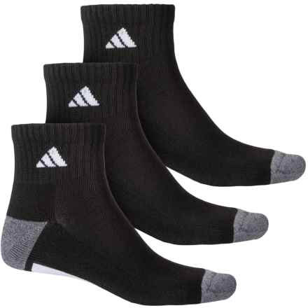 adidas Vertical 3-Stripe Quarter Socks - 3-Pack, Quarter Crew (For Men) in Black/Onix/Light Onix Marl/White - Closeouts