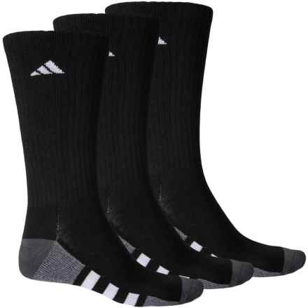 adidas Vertical 3-Stripe Socks - 3-Pack, Crew (For Men) in Black/Onix/Light Onix Marl/White/Clear - Closeouts