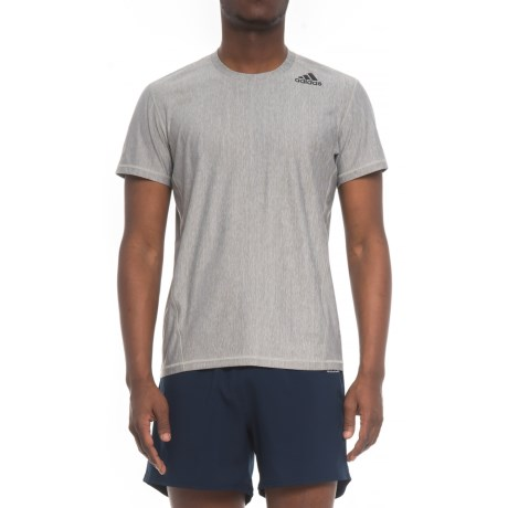 adidas Vertical Heather T-Shirt - Short Sleeve (For Men) in Grey Heather/White