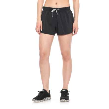 adidas Woven Slit Shorts - Built-in Briefs (For Women) in Black - Closeouts