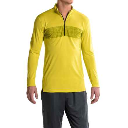 adidas Zip Neck Shirt - Long Sleeve (For Men) in Unity Lime - Closeouts