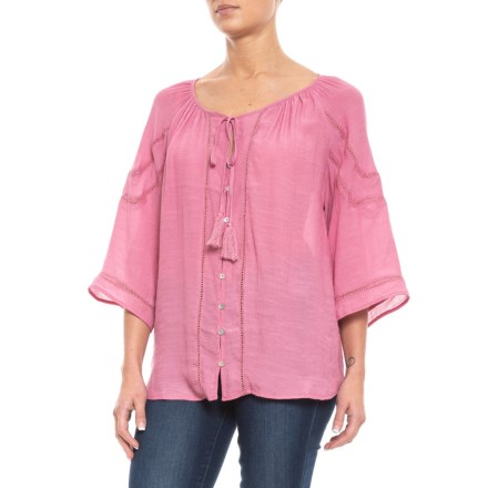 447e03959e62 Clearance. Adiva Drawstring Shirt with Small Burnouts - Long Sleeve (For  Women) in Cashmere -