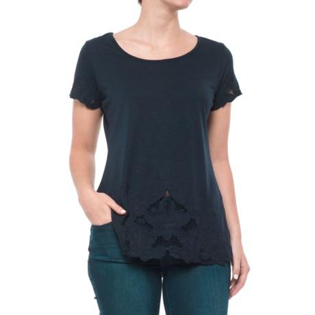 Adiva Lace Bottom Shirt - Short Sleeve (For Women) in Navy