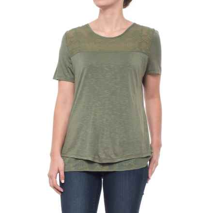 Adiva Slit Back Shirt - Short Sleeve (For Women) in Soft Olive - Closeouts