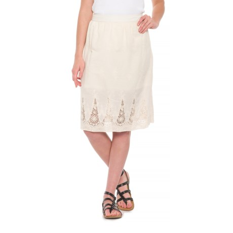 Adiva Tan Lace Embroidered Skirt (For Women) in Natural