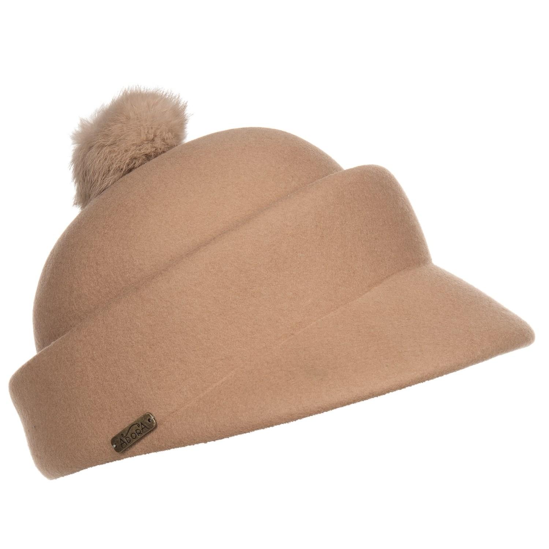 Adora Wool Felt Cap with Pompom (For Women) in Camel ... b39ca0c406a