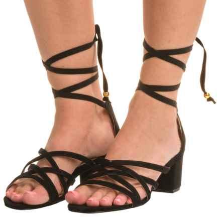 Adrienne Vittadini Alesia Sandals - Suede (For Women) in Black - Closeouts