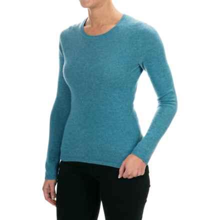 Adrienne Vittadini Cashmere Crew Neck Sweater (For Women) in Ocean Blue Heather - Closeouts