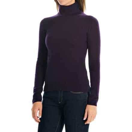 Adrienne Vittadini Cashmere Turtleneck Sweater (For Women) in Dark Plum - Closeouts