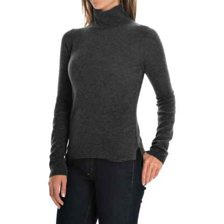 Adrienne Vittadini Cashmere Turtleneck Sweater (For Women) in True Charcoal Heather - Closeouts