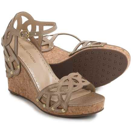 Adrienne Vittadini Chavi Lace Wedge Sandals - Leather (For Women) in Taupe Metallic Crack Print - Closeouts