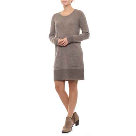 Adrienne Vittadini Dress with Pockets - Crew Neck, Long Sleeve (For Women) in Nut Heather - Closeouts