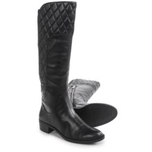 Adrienne Vittadini Keith Quilted Knee High Boots - Leather (For Women) in Black - Closeouts