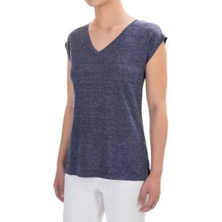 Adrienne Vittadini Linen V-Neck Shirt - Short Sleeve (For Women) in Navy Heather - Closeouts