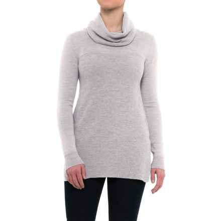 Adrienne Vittadini Merino Cashfeel Sweater - Loose Turtleneck (For Women) in Light Melange Heather - Closeouts