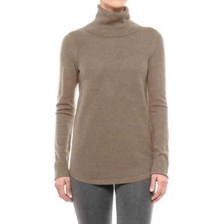 Adrienne Vittadini Merino Wool Cashfeel Turtleneck Sweater (For Women) in Nut Heather - Closeouts