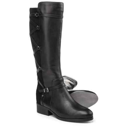 Adrienne Vittadini Mickey Tall Boots - Leather (For Women) in Black Calf - Closeouts