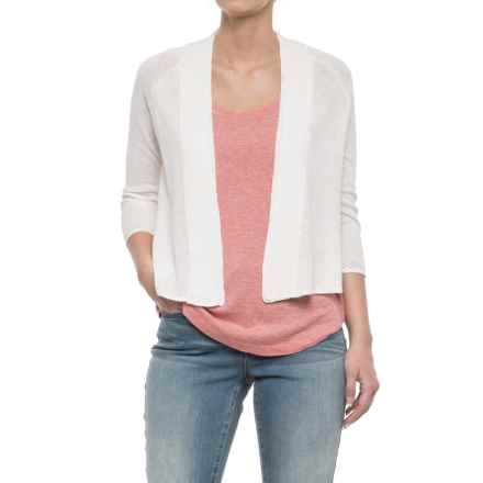 Adrienne Vittadini Pointelle Placket Cardigan Sweater - Open Front, 3/4 Sleeve (For Women) in Ivory Solid - Closeouts