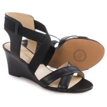 Adrienne Vittadini Raenie Wedge Sandals - Leather (For Women) in Black - Closeouts