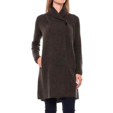 Adrienne Vittadini Shawl Collar Long Cardigan Sweater - Wool-Yak (For Women) in Dark Wood Heather - Closeouts