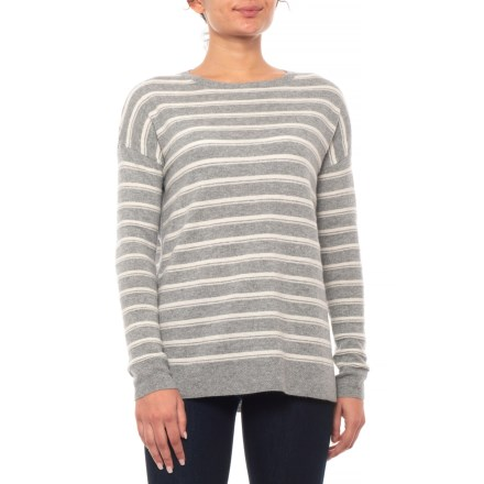 96e30459b Adrienne Vittadini Striped Cashmere Sweater (For Women) in Steeple Grey  Heather Sweet Vanilla
