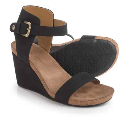Adrienne Vittadini Ted Wedge Sandals - Suede (For Women) in Black - Closeouts