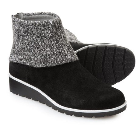 Image of Adrienne Vittadini Tevin Knit-Cuff Booties - Suede (For Women)