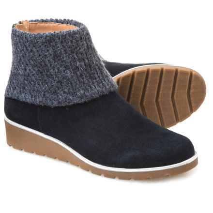 Adrienne Vittadini Tevin Knit-Cuff Booties - Suede (For Women) in Navy - Closeouts