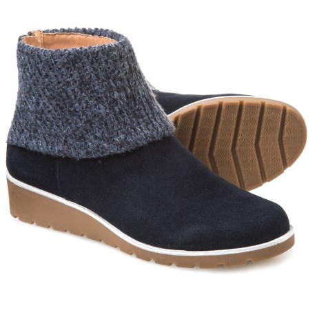 Adrienne Vittadini Tevin Knit-Cuff Booties - Suede (For Women) in Navy