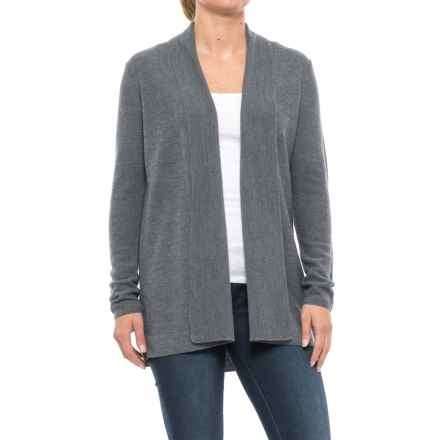 Adrienne Vittadini Textured Flyaway Cardigan Sweater - Merino Wool (For Women) in Storm Grey Heather - Closeouts