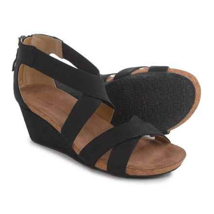 Adrienne Vittadini Timbo Wedge Sandals - Nubuck (For Women) in Black - Closeouts