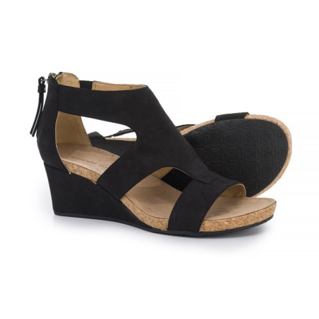 Adrienne Vittadini Tricia Wedge Sandals - Vegan Leather (For Women) in Black Distressed Supersuede