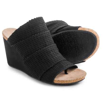 Adrienne Vittadini Trieste Wedge Sandals - Suede (For Women) in Black - Closeouts