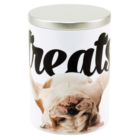 Advantus Bulldog Dog Treat Canister in White