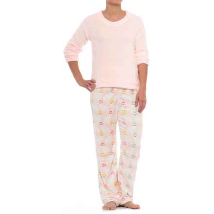 Aegean Apparel Cashmere Plush Crew Shirt and Pants Set - Long Sleeve (For Women) in Pink/Pink Llama - Closeouts