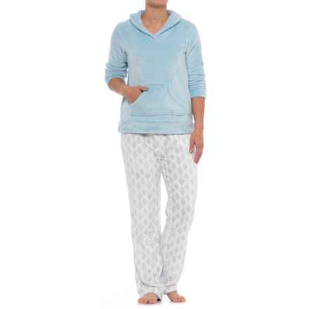 Aegean Apparel Cashmere Plush Shirt and Pants Set - Long Sleeve (For Women) in Light Blue/Blue Diamond Ikat - Closeouts